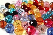 60 MULTI COLOUR PLASTIC FACET ROUND JEWELLERY MAKING BEADS CRAFTS  12mm AB0211