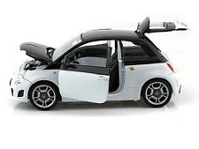 Motor Max 1/18 Scale Fiat Abarth 500 2 Tone White  Black Diecast Car Model 79168