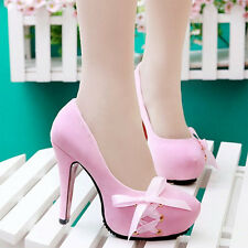 Fashion Womens Sexy High Heels Shoes Ribbon Bow Platform Pumps Suede Shoes