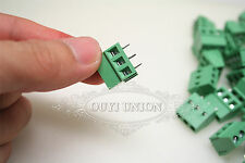 10PCS Lot 3-Pin 5.08MM Pitch Panel PC Mount Plug-in Green Screw Terminal Block