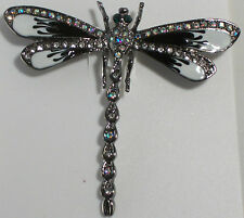 Elegant Dragonfly Magenta & Pink  Or Black and White Enamel & Crystal Pin Brooch