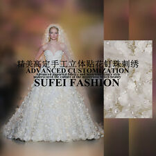 "Customized Exquisite 3D Embroidery Beads Mesh Wedding Dress Lace Fabric 51""W/Yd"