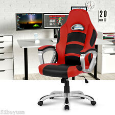 Executive Office Chair Red High-Back Faux Leather Racing Style Computer Gaming