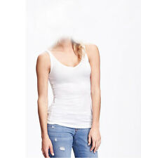 NWT WOMENS OLD NAVY BRIGHT WHITE FITTED 2-WAY LAYERING TANK SIZE LARGE