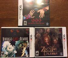 Zero Escape Lot 999, Virtue's Last Reward, Zero Time Dilemma (Nintendo DS / 3DS)
