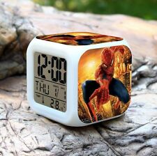 Spiderman 7 Color Changing LED Digital Alarm Clocks For Kids & Christmas Gift