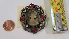 Victorian Vintage Style Cameo Oval Brooch colorful faceted Crystals #4