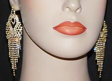 GOLD WITH CLEAR RHINESTONE CRYSTAL PARTY CHANDELIER EARRINGS