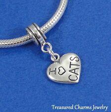 .925 Sterling Silver LOVE CATS HEART Dangle Bead CHARM fits EUROPEAN Bracelet