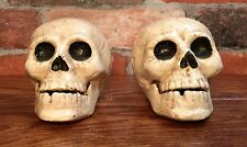 Pair of Cast Iron Vintage Full Skeleton Skull Head Bookends