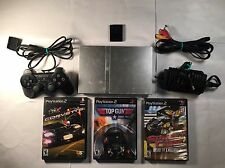 Sony PlayStation 2 Slim Silver Console with 3 Games And Memory Card