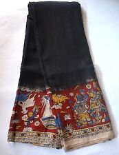 Kalamkari Cotton Silk Saree  - Black dyed with red border
