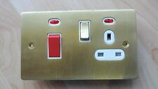 Knightsbridge FT83N-BBW 45A cooker switch + 13A socket +neons brushed brass/gold