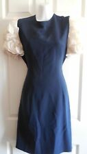 CAROLINA HERRERA SAKS FIFTH AVENUE NAVY BLUE / WHITE SILK ROSETTE SLEEVE DRESS 8