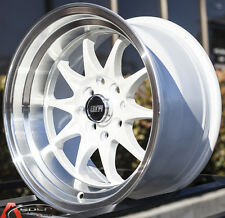 15X8 STR STR513 Wheels 4x100/114.3 et0 White Rims Fits Integra Civic Miata E30