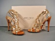 JIMMY CHOO DEHLIA METALLIC GOLD LEATHER STRAPPY SANDALS CORK HEELS 38.5/8.5 NEW
