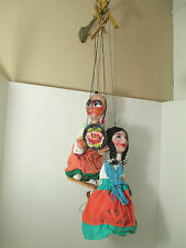 Antique VTG Mexican Mexico Folk Art Dolls Stringed Puppet Paper Mache Marionette
