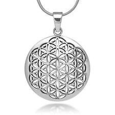 Silver Flower of Life Pendant Necklace, Sacred Geometry