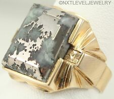 HEAVY Antique Art Deco RARE NATURAL Silver Ore Gemstone 10k Solid Gold Mens Ring