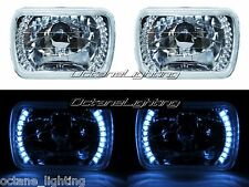 7X6 White LED Halo Halogen Crystal Clear Headlights Angel Eye Light H4 Bulbs Pr