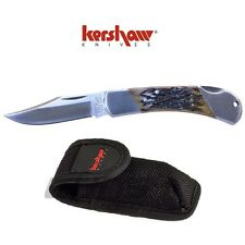 Kershaw Black Gulch Jigged Bone Lock Back Knife w/ Sheath 3120JBX Buck 112