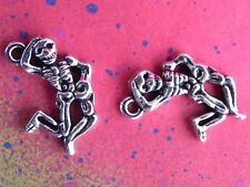 Silver Skull Dancing Day of the Dead Pendant Charms for Jewelry Making