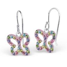 Childrens Girls Real Sterling Silver Hanging Crystal Butterfly Earrings - Boxed