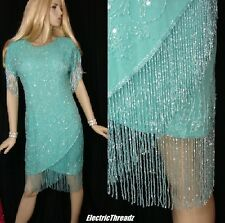 Vtg 80s SILK Chiffon BEADED FRINGE Sequinned OPEN BACK Flapper MiNi DRESS M / L