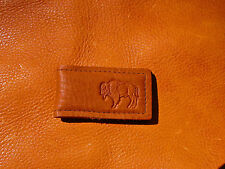 Brown BUFFALO LEATHER MONEY CLIP hand crafted by disabled Navy veteran USN 5004