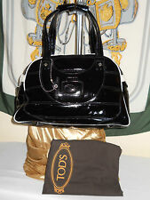 Tods patent leather 2 tone black with white satchel dome/ shoulder bag