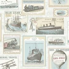 Galerie Memories 2 G56144 Blue Cream Old Transport Planes Boats Trains Wallpaper