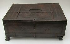 Indian carved hardwood and iron bound dowry box, early 19th century