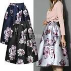 Womens Summer High Waisted Skater Full Circle Pleated A-Line Ladies Midi Skirt