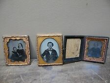 Lot Of 3 Antique Photo's Tin Type And Glass