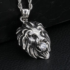 316L Stainless Steel Lion Biker Pendant Necklace White Crystals CZ For Men gifts