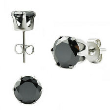 Stainless Steel Stud Unisex Earring 6 mm Black CZ Stone