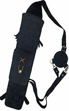 Doux en daim noir dos carquois avec poche avant archery products aq - 118A.