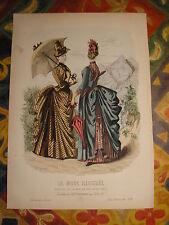 Gravure MODE couleur GRAND FORMAT  La mode illustrée : femmes montagne 1886 N°37