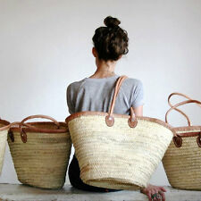 Moroccan straw basket with shoulder leather handle