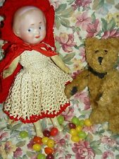 Rare, German antique bisque 1914 GOOGLY 46 by Recknagel, Red Riding Hood outfit
