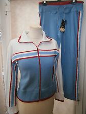 LADIES TOP AND MATCHING LEISURE TROUSER BLUE SIZE 8 - 10 SHORT (S/M) NEW (719)