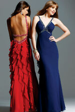 Faviana Couture Beaded Halter Gown Dress Navy 4 NEW