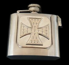 RHINESTONE CROSS 3oz STAINLESS STEEL FLASK WESTERN BELT BUCKLE BOUCLE CEINTURE