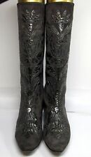 Andrea Pfister Neiman Marcus Vtg 80's Suede Couture Grey Embossed Boots Sz 8 B