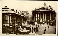 London UK postcard ~1920/30 Royal Exchange showing Bank of England on left