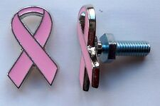 Breast Cancer Awareness, pink ribbon license plate bolts,plated silvertone
