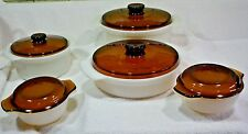 10 piece Vintage Anchor Hocking Fire King Ribbed covered Smoked lid Dishes (026)