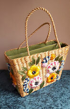 VINTAGE STRAW BAG PURSE FLOWERS BAGS BY PATRICIA HANDMADE IN PHILIPPINES