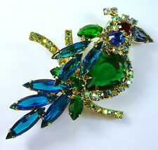 Vintage JULIANA D&E DeLizza Elster Rhinestone Bird Pin/Brooch Book Piece FREE SH