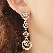 Gold Silver Plated Crystal Rhinestone Long Dangle Earrings Ring Loop Jewelry